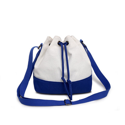 Drawstring Patchwork Bucket Bag