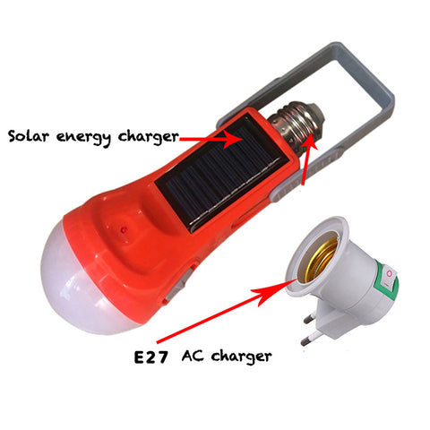 Image of New Solar/AC Energy Flashlight / Bulb E27 Led Light 600 lumens 110-220V & E27 lamp base Charged
