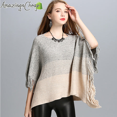 Image of GradientColor Acrylic Cashmere Shawl Tassels Off Collar Bat Sleeve Poncho Sweater Women Autumn