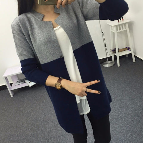Sweater Two-tone long-sleeved cardigan