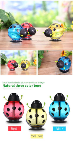 Image of USB Cartoon Ladybug Humidifier 260ml Night Light Aroma
