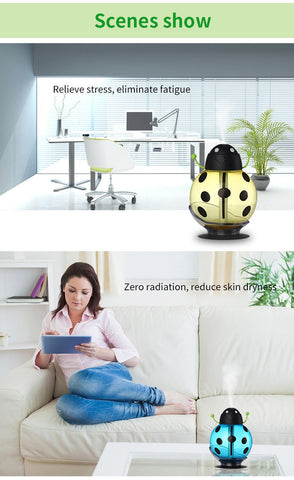 USB Cartoon Ladybug Humidifier 260ml Night Light Aroma