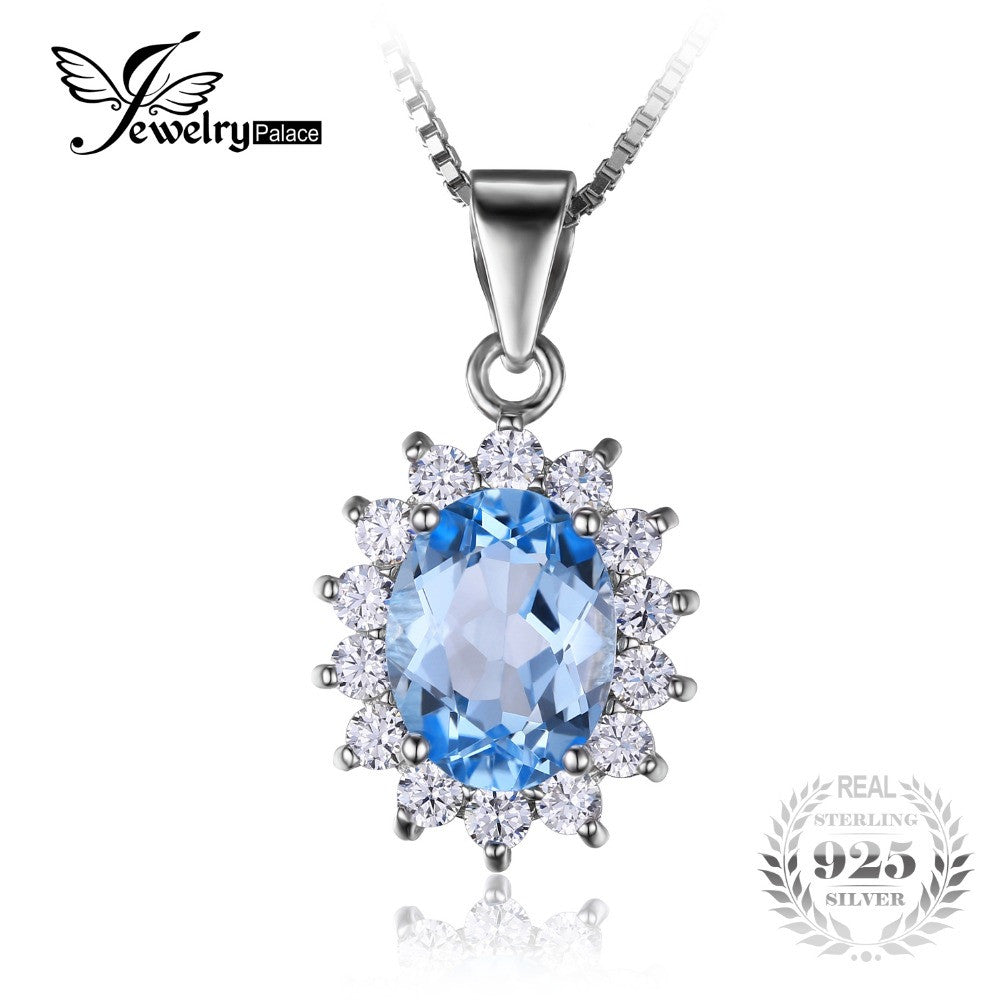 Natural Blue Topaz Pendants Solid 925 Sterling Silver Charm Fashion
