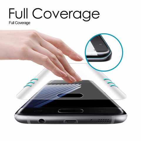 Image of For Samsung Galaxy S7 Edge S6 Edge S8 Plus Screen Protector Toughed Pet Film Full Cover (Not Tempered Glass)3D Curved Round Edge