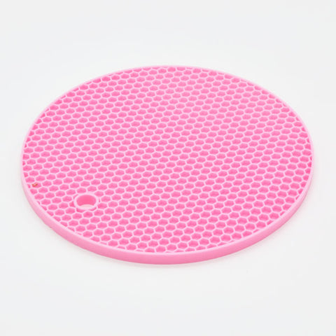 Image of Round Silicone Non-slip Heat Resistant Mat Coaster Cushion Placemat Pot Holder - 7.1 in / 18cm