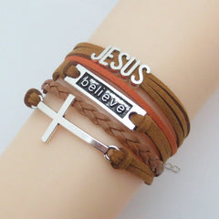 Charm Cross Bracelets wrap leather: believe Jesus, infinity Jesus, love Jesus