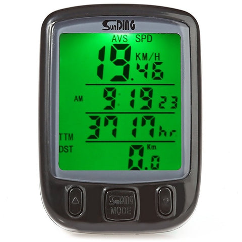 Image of SunDing Bicycle Computer Include Battery Waterproof Cycling Odometer Speedometer With Green LCD Backlight Bike Computer SD-563B