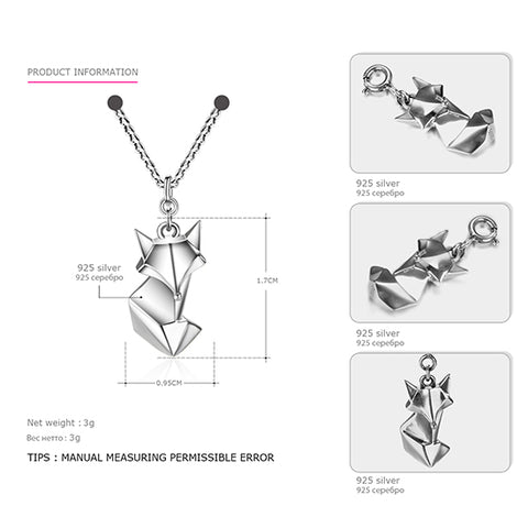 Image of TARDOO Trendy Cute Fox Pendants Necklace for Women 925 Sterling-Silver Love Necklace Fine Jewelry 2017 New Year Gifts