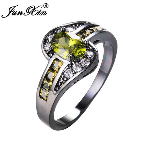 Image of JUNXIN Female Peridot Oval Ring Fashion White & Black Gold Filled Jewelry Vintage Wedding Rings For Women Birthday Stone Gifts