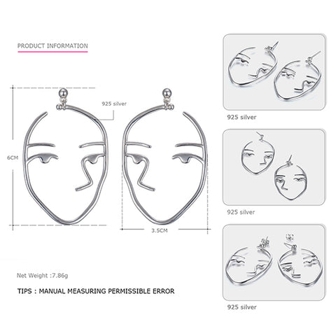 Image of Tardoo Fabulos Genuine 925 Sterling Silver Stud Earrings for Women Hunan Face Modelling Personality Earrings Brand Fine Jewelry