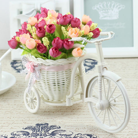 Image of Vase Flowers Artificial Silk Flower Basket Set for Home office Decoration home flowers decoration for wedding