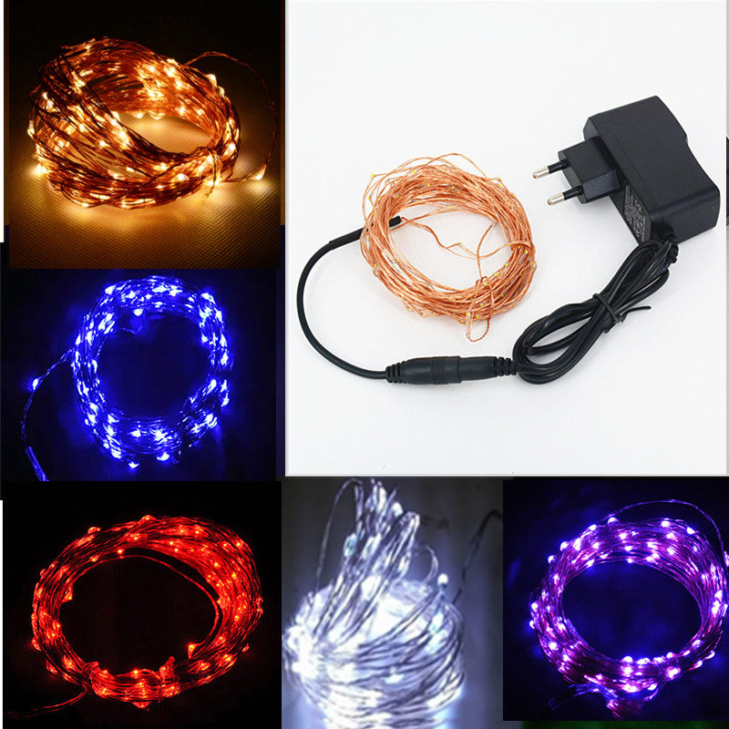 SPLEVISI 12V Waterproof 10M 100 LED Copper String Light Outdoor Christmas Wedding Party Fairy Decoration Lights  + Power Adapter