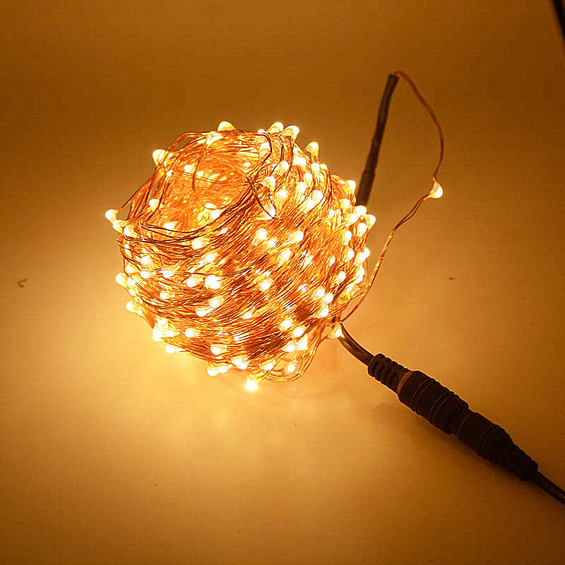 SPLEVISI 30m 300 LED Outdoor Christmas Fairy Lights LED Copper Wire String Lights Starry Light Garland + Power Adapter(