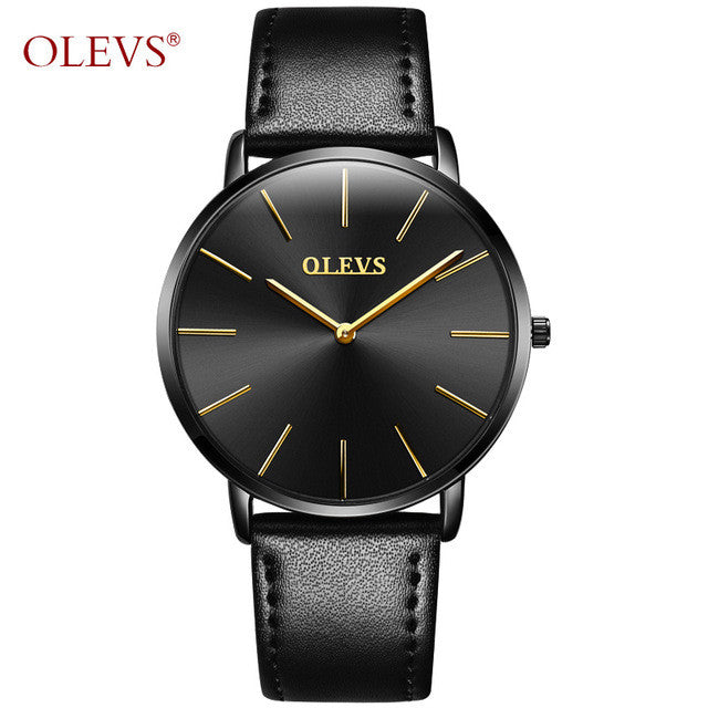 OLEVS Brand Luxury Quartz Men Watches Business Casual Ultrathin Quartz-Watch Genuine Leather Clock Male relogio masculino New