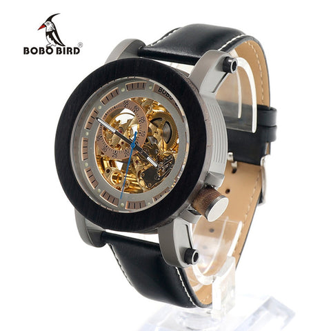 Image of BOBO BIRD Mens Wooden Watch Mechanical Watch Mens Top Luxury Brand with Real Leather Strap in Gift Box relojes hombre 2017