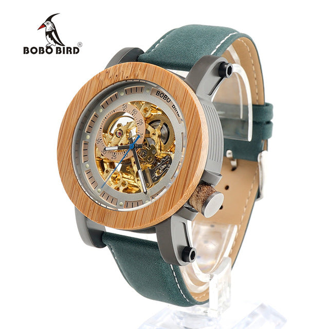 BOBO BIRD Mens Wooden Watch Mechanical Watch Mens Top Luxury Brand with Real Leather Strap in Gift Box relojes hombre 2017