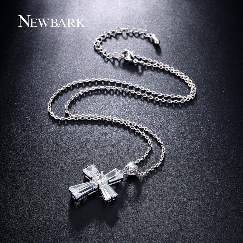Elegant Cubic Zircon Cross Necklaces Pendants Silver Color Cross Christian Jesus Jewelry For Women