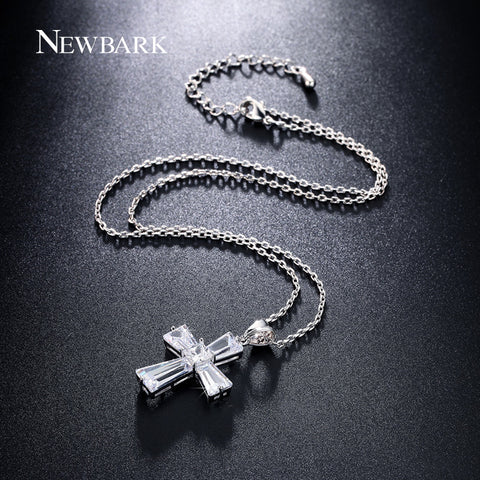 Image of Elegant Cubic Zircon Cross Necklaces Pendants Silver Color Cross Christian Jesus Jewelry For Women