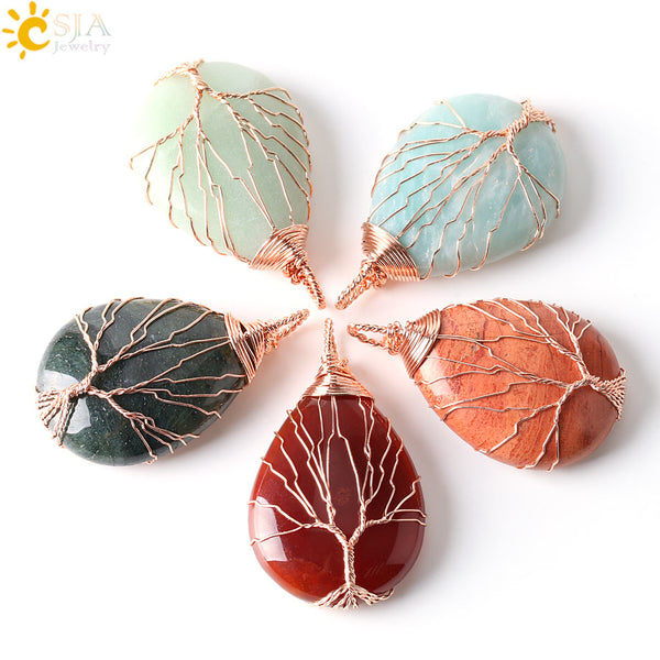 Men Women Jewelry Rose Gold Color Wire Wrap Natural Amazon Stone - Water Drop Tree of Life