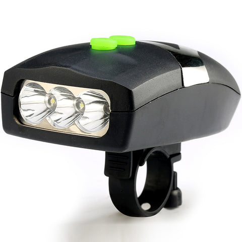 Image of 3LED Bike Bicycle Light Universal White Front Head Light Cycling Lamp + Electronic Bell Horn Hooter Siren Waterproof Accessories