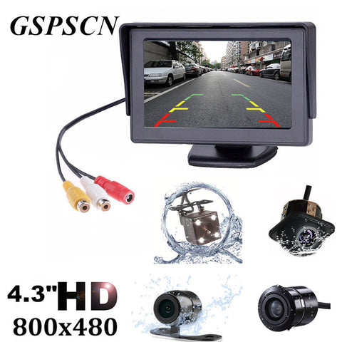 GSPSCN 2 in1 TFT 4.3 Inch Auto TFT LCD Rearview Parking Color Monitor + LED Night Vision CCD Rear View Camera With Car Monitors