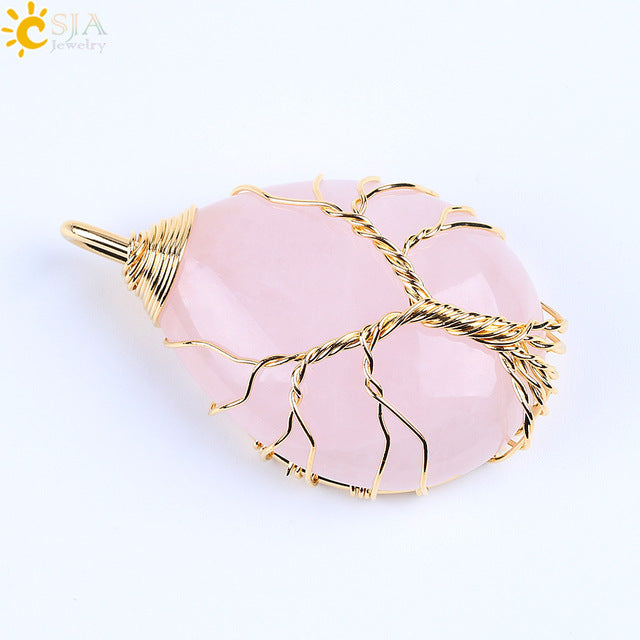 Gold Color Tree of Life Wire Wrap Water Drop Necklace Pendant Natural Gem Stone Pink Quartz Tiger Eye Green Aventurine E585
