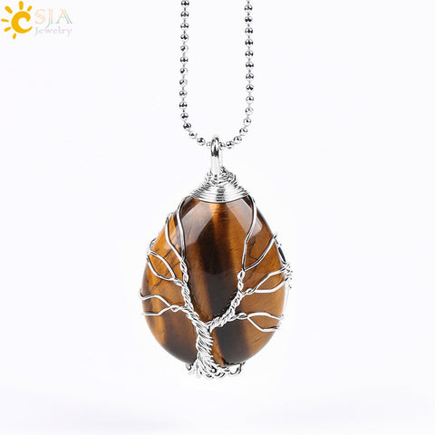 Image of Gold Color Tree of Life Wire Wrap Water Drop Necklace Pendant Natural Gem Stone Pink Quartz Tiger Eye Green Aventurine E585