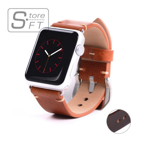 Replacement I Watch Band ,High Quality Imported Vegetable Tanned Leather Watch Band for Apple Watch 38mm&42mm Black Adaptor