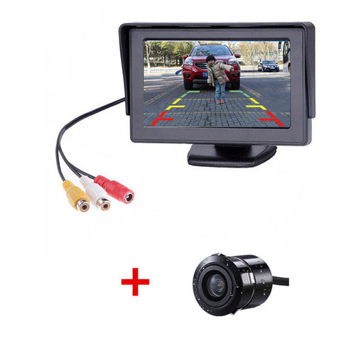 Image of GSPSCN 2 in1 TFT 4.3 Inch Auto TFT LCD Rearview Parking Color Monitor + LED Night Vision CCD Rear View Camera With Car Monitors