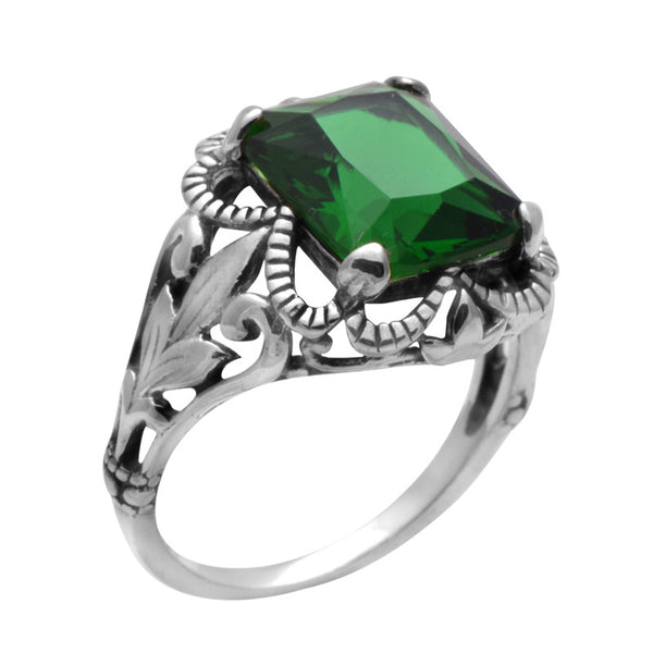 Russian Green Crystal  Ring 925 Sterling Silver
