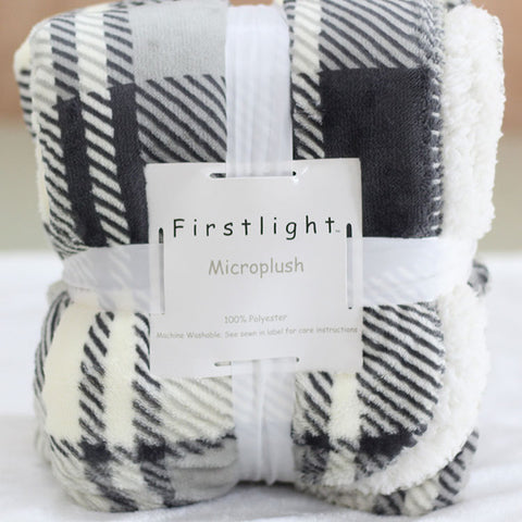 Image of small knit plaid flannel fleece Blanket 2 layers for on sofa/bed