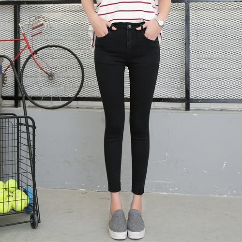 Women Ankle-Length Cuffs Black Jeans Students Stretch Skinny Female Slim Pencil Pants