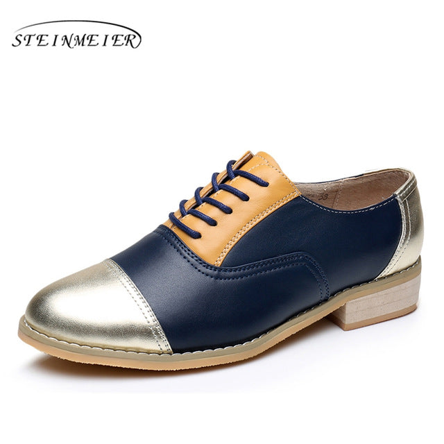 Women oxford shoes leather designer vintage flat shoes US size 10 handmade brown silver 2017 oxfords flats shoes for women fur