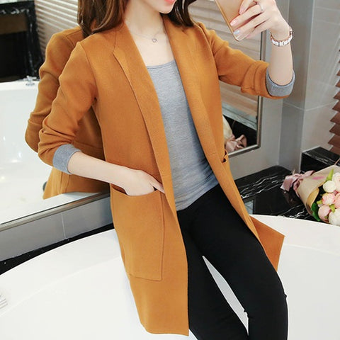 Image of Refeeldeer Long Cardigan Female 2017 Autumn Winter Women Long Sleeve Cardigan Sweater Knitted Cardigans For Women Jacket Tops