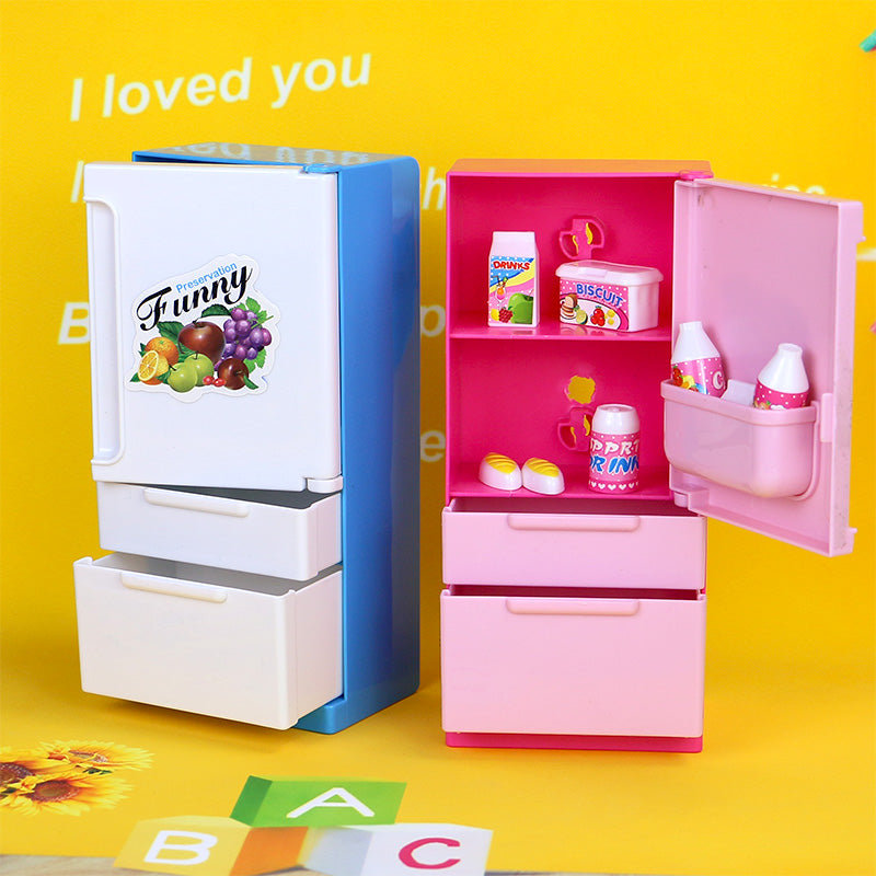 Doll House Furniture Refrigerator Play Set Home Fridge
