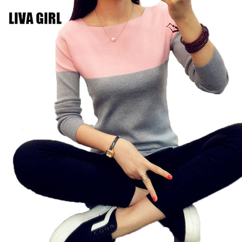 Image of LIVA GIRL Knitted Sweater Women Autumn Winter Split Women Sweaters And Pullovers Female Pink Tricot Jumper Pull Femme B02