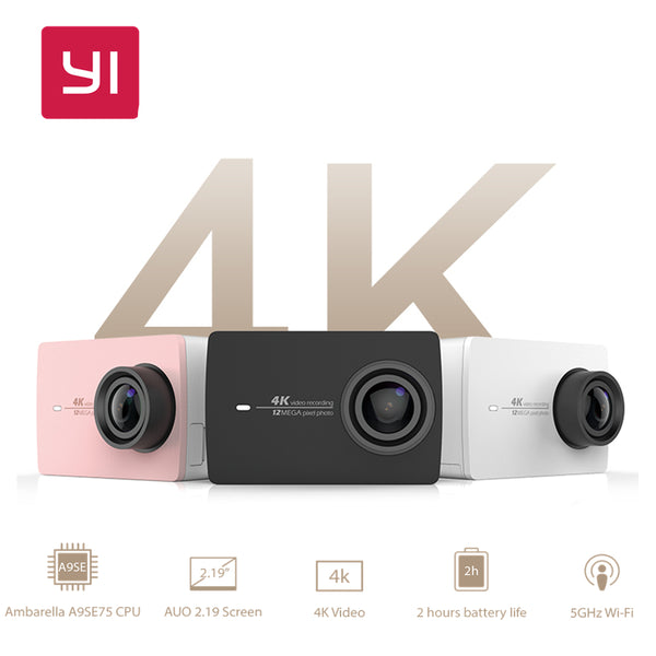 "YI 4K Action Camera International Version Ambarella A9SE Sport Camera 12.0MP CMOS EIS 2.19"" LDC Retina Screen WIFI Mini Smart DV"