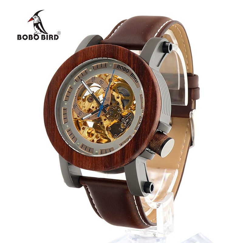 BOBOBIRD K12 Red Sandalwood&Steel Exposed Mechanical Watch Vintage Bronze Skeleton Clock Male Antique Steampunk Casual Automatic
