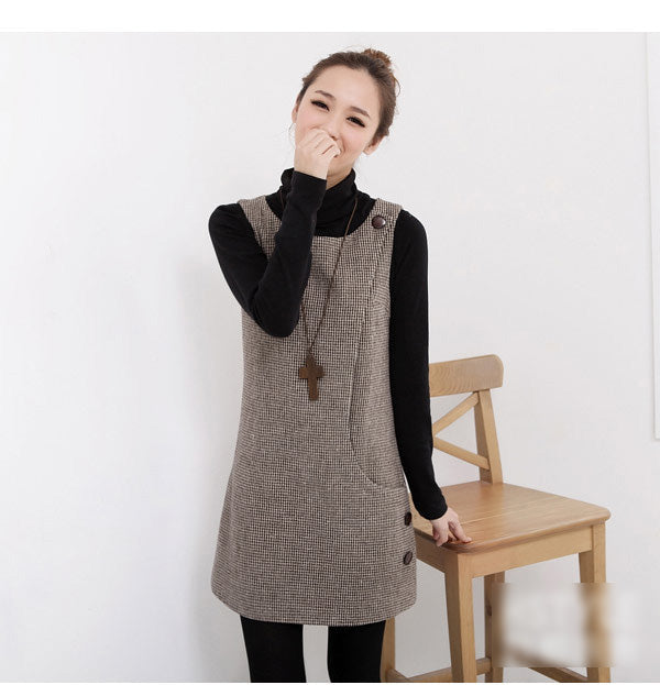 Women New Woolen Korean Sweet Plus Size autum Dress Slim slevees Sweet Dresses Ladies Casual Winter clothes Q1717