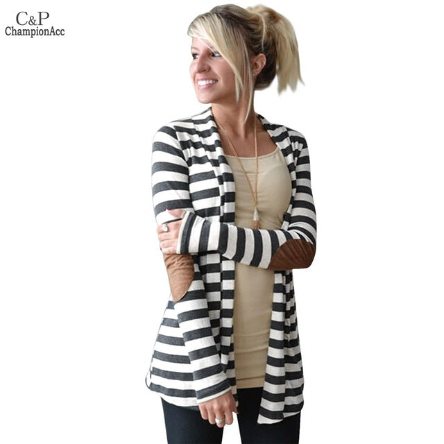 FANALA Women Striped Cardigan Female Cardigans Sweaters Turndown Neck Patch on Long SLeeve Women Knitting Sweater Plus Size S-XL