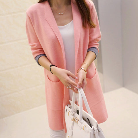 Image of Long Cardigan Long Sleeve Knitted Women Sweater Cardigan  Crochet