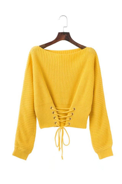 Hirsionsan Autumn Lace Up Sweater Women 2017 New Knitted Women Sweaters and Pullovers Solid Jumper Adjust Waist Bandage Sweater