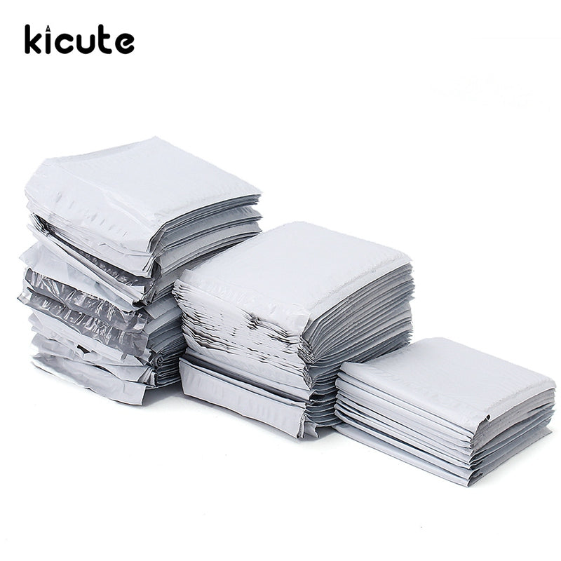 White Poly Bubble Mailers PE Plastic Padded Envelope Shipping Bags Mailing Bags  7.1x9.25in / 180x235mm  10/30/50pcs