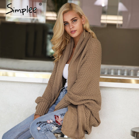 Image of Simplee Batwing knitted shrug sweater women Autumn winter fashion tricot warm jumper sweater oversize shawl cardigan sweaters