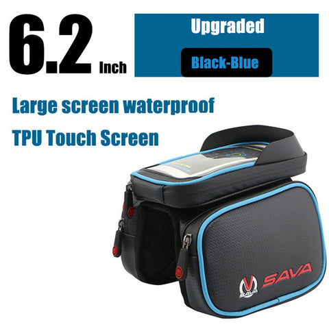 Image of SAVA Waterproof Cycling Front Bag Touch Screen Bike Bag Tube Frame Pannier Double 3 Sizes Supply Pouch Phone Bicycle Bag