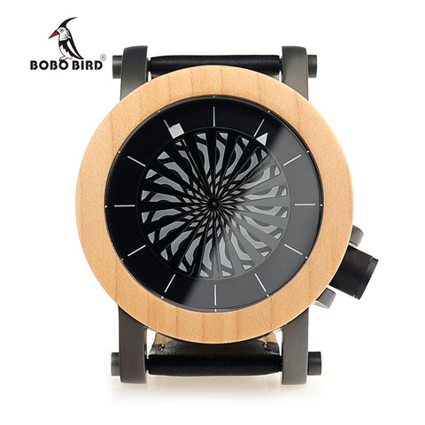 BOBO BIRD Mens Wooden Mechanical Watches TOP Luxury Handmade Wood Watch Leather Strap Wristwatches relogio masculino C-M07