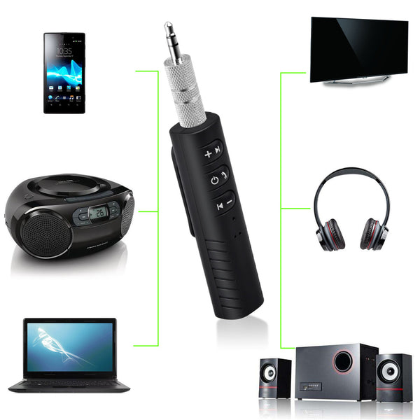 Clip-on Wireless AUX Bluetooth Receiver for Car Headphone Speaker 3.5mm Bluetooth Audio Music adapter Jack with Mic