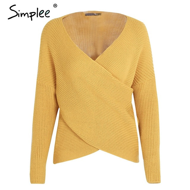 Simplee V neck cross knitting winter sweater women Fashion down sleeve pullover female New 2017 autumn winter casual jumper