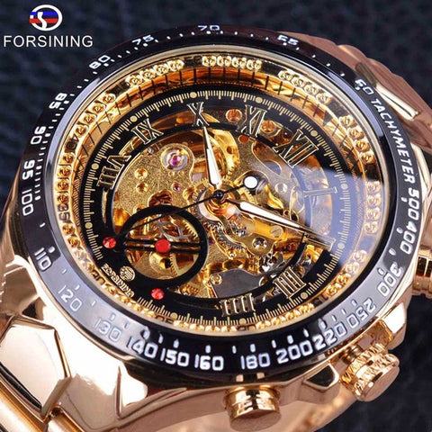 Image of Forsining Stainless Steel Classic Series Transparent Golden Movement Steampunk Men Mechanical Skeleton Watches Top Brand Luxury