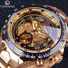 Forsining Stainless Steel Classic Series Transparent Golden Movement Steampunk Men Mechanical Skeleton Watches Top Brand Luxury